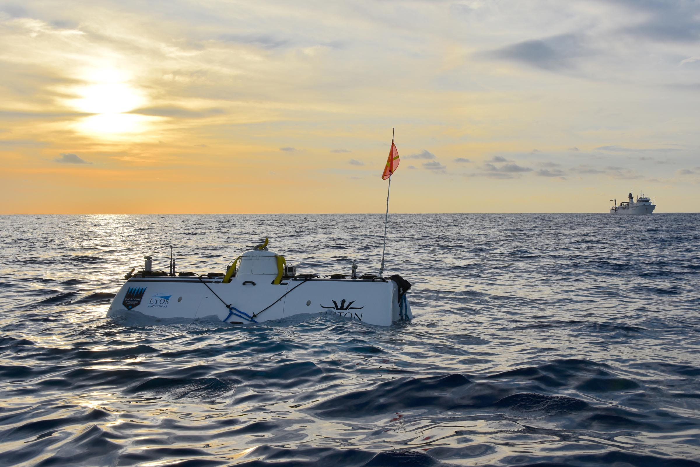 The DSV Limiting Factor surfaces after record-breaking solo dive to the deepest point of the Indian Ocean