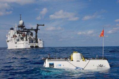 The DSV Limiting Factor on the surface following record-breaking dive to the deepest point in the Indian Ocean