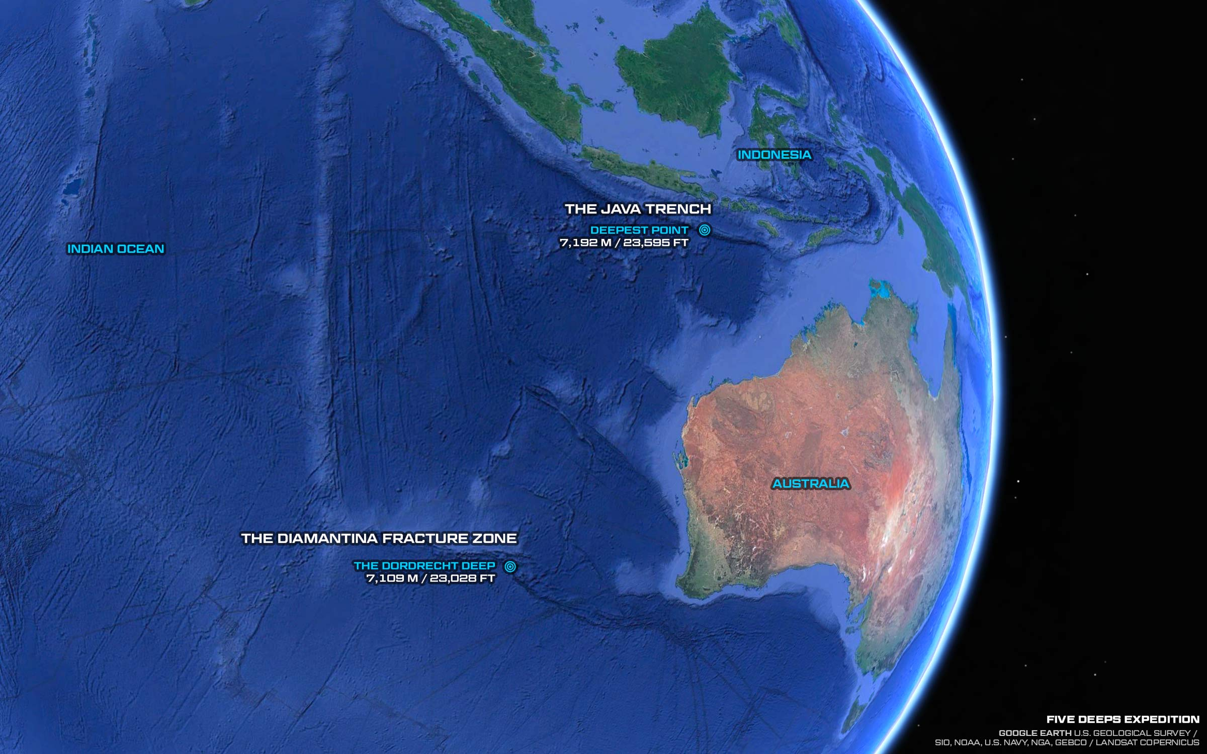 Indian Ocean - Sonar Images   Five Deeps Expedition