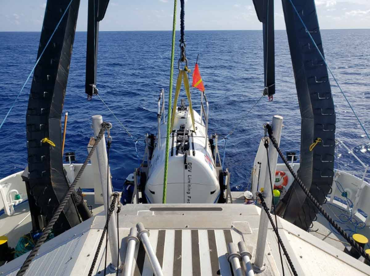 The Five Deeps Expedition launches Limiting Factor on the second day at the Java Trench,