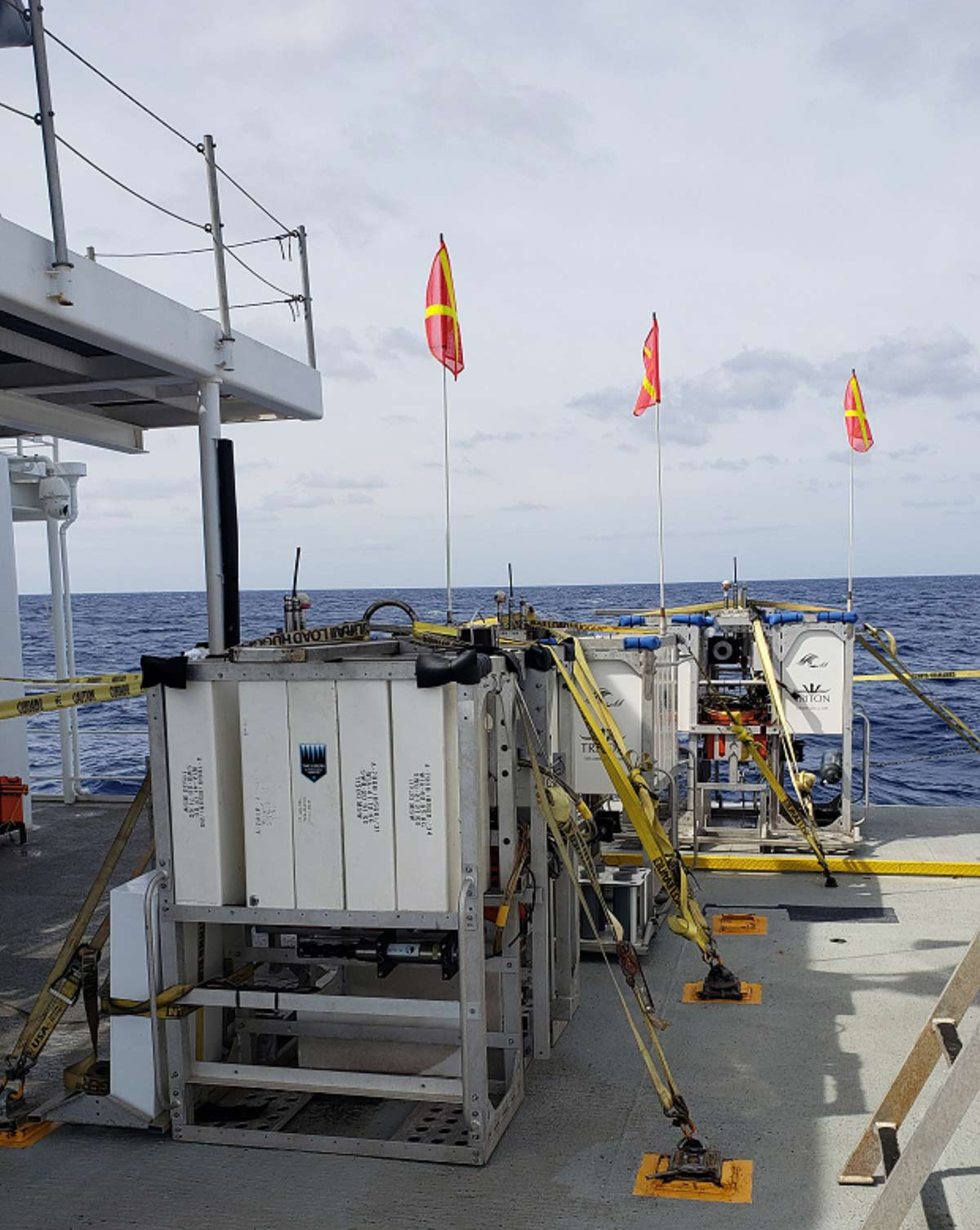 "The deep sea landers ""Skaff,"" ""Closp,"" and ""Flere"" in position to be deployed"