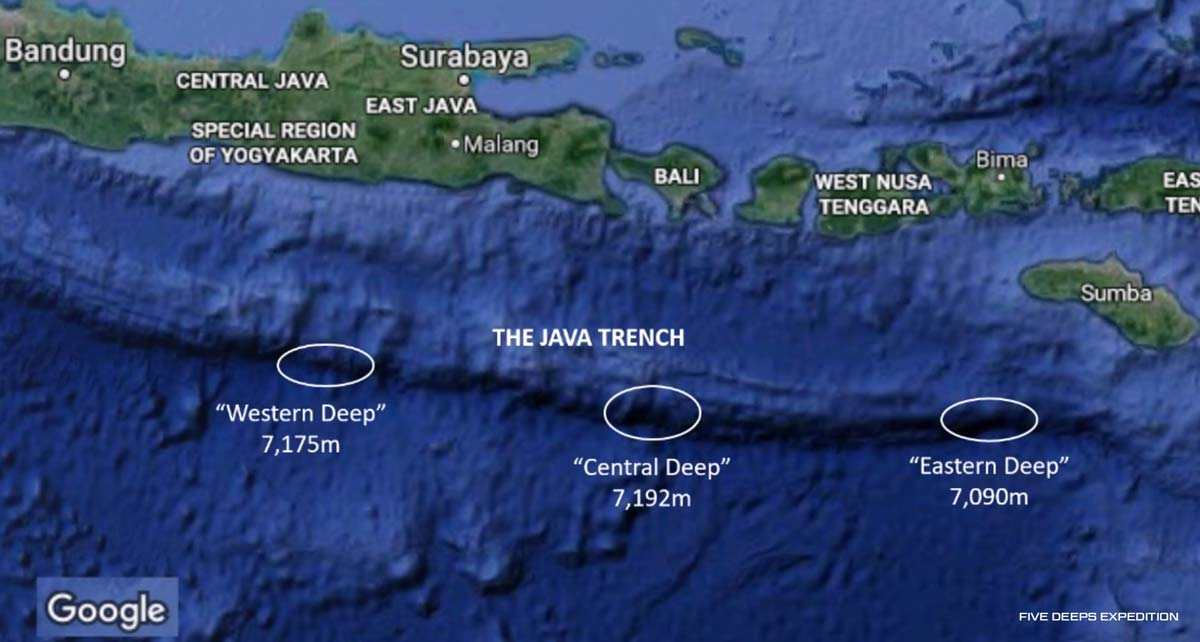 The Three Deepest points in the Java Trench - as recorded by EM124 Sonar as part of the Five Deeps Expedition