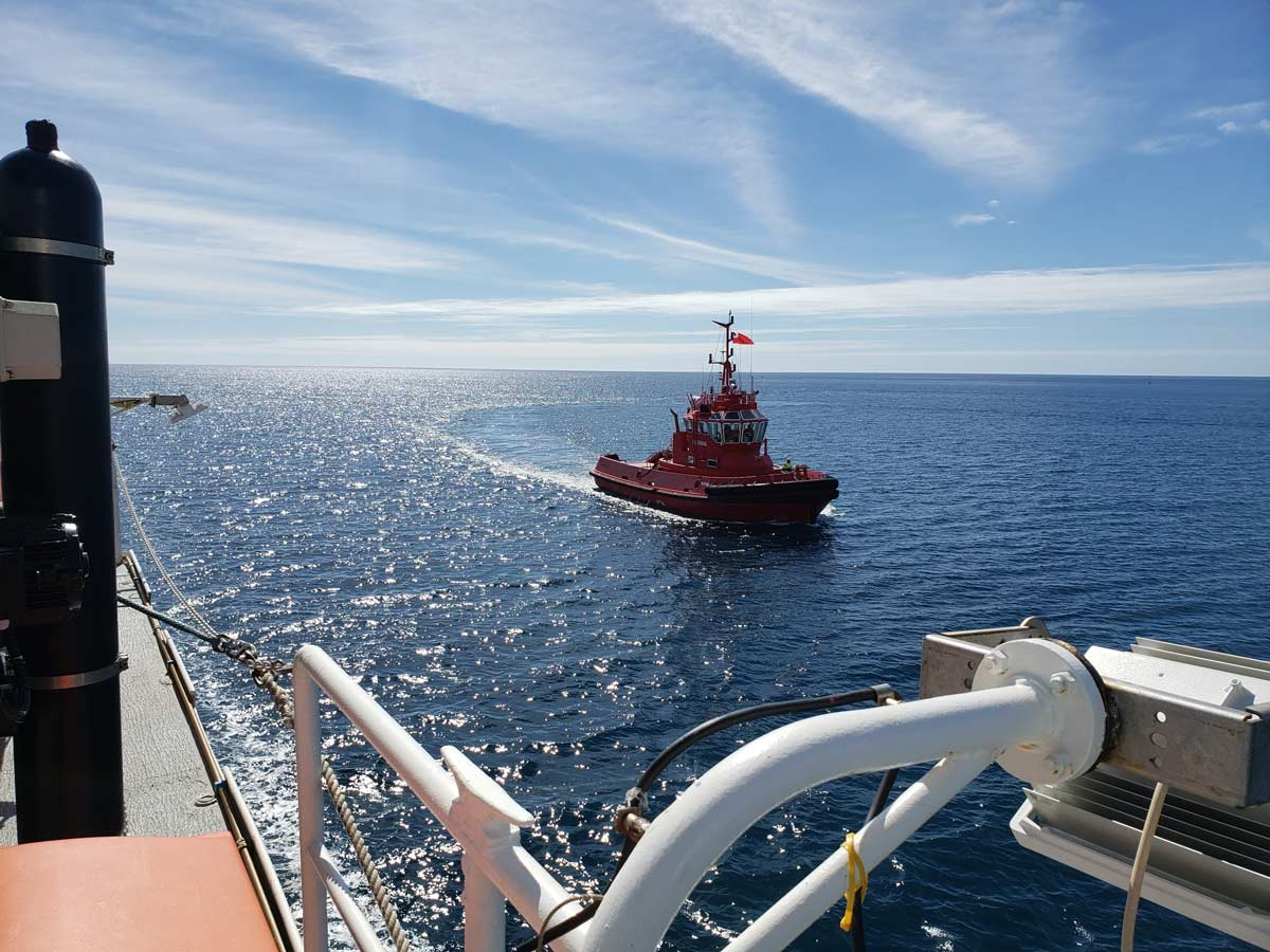 Tonga Pilot Boat welcomes us back to shore
